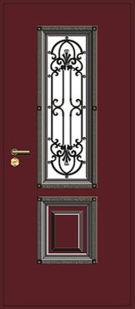 белые металлические двери с окном и ковкой