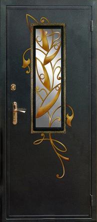 стальные двери с окном и коваными вставк