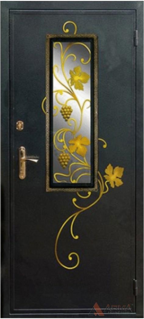 входная дверь с окном с элементами ковки