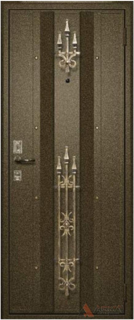 отделка металлической двери ковкой