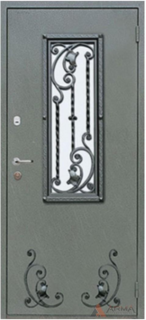 металлические двери с ковкой и со стеклом