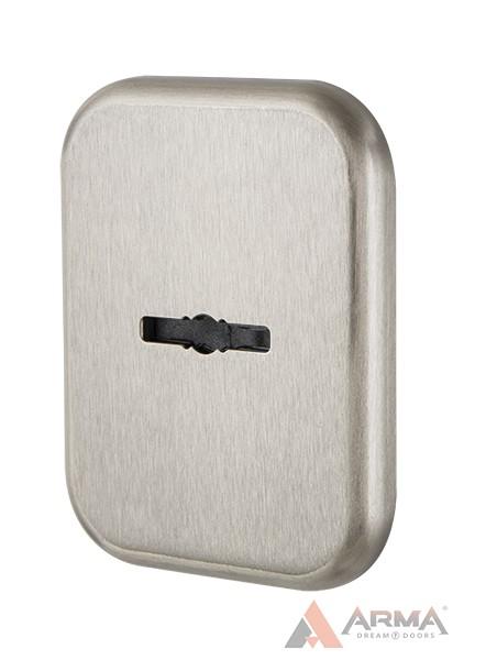 Декор Квадратная Armadillo (Армадилло) накл. на сувальдный со шторкой PS-DEC SQ CT (ATC Protector 1) SN-3 Матовый никель